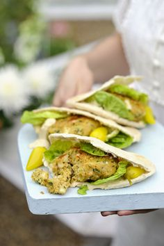Falafel and halloumi burgers: A great low-calorie recipe for vegetarians. A hearty chickpea burger stuffed into a pitta pocket. For a smoky flavour, try cooking these easy-to-make falafel on the BBQ then serve in warm pitta with traditional pickled chillies.