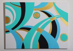 """Abstract Large Original Acrylic Painting  Turquoise Ribbon 7- 30x40x1.5"""" by XiaGallery on Etsy https://www.etsy.com/listing/171586406/abstract-large-original-acrylic-painting"""