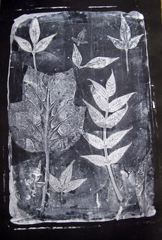 Print making with gelatin and leaves (Source: Cassie Stephens)
