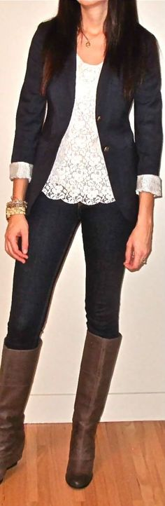 Love the look of a lace top under a simple blazer