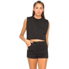 Motel Kaila Quilted Crop Tank in Black ($17) ❤ liked on Polyvore featuring tops, black, loose fit crop top, sport tank, loose tops, sports tank and loose crop tank