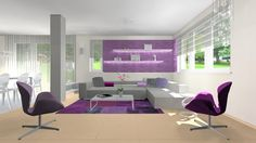 living room, purple, 3D vizualization, rendering, interior design, sofa, armchair, bocci, kartell ghost chair