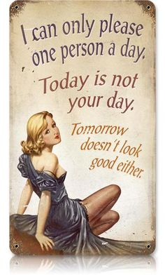 Not Your Day 8 x 14 Vintage Metal Sign | Man Cave Kingdom