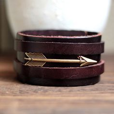 For Him Arrow Cuff Antique Men's Brown Leather Cuff by pier7craft