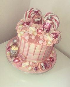 18th Birthday Cake For Girls, 19th Birthday Cakes, Sweet Birthday Cake, Birthday Drip Cake, Pink Birthday Cakes, Adult Birthday Cakes, Birthday Cake Decorating, 21st Birthday, Gin And Tonic Cake