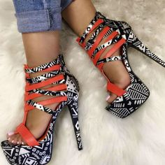 Multi Black Strappy Heels. Save 45% https://ladieshighheelshoes.blogspot.com/2016/10/womens-shoes.html