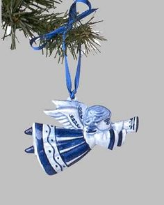 """View a larger picture of Christmas Ornament Delft """"Flying Angel"""" Blue"""