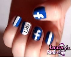 Facebook Nails! :)   View tutorial here http://www.youtube.com/watch?v=ELTiMaUtsGs