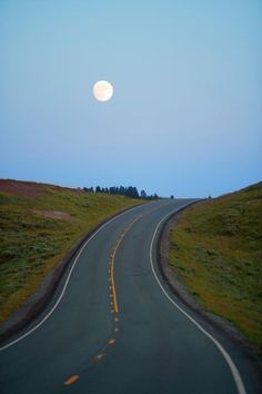 Full Moon Rising Above Road, Summer Photograph  -  Phil Nealey Photography