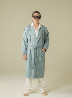 Nice man night gown with steely blue color. 100% cotton. we have the same for little boys to match father and son! #nightgown #pyjama #pyjamaformen