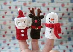 My Little Mochi - Christmas Puppets Crochet Santa, Cute Crochet, Crochet For Kids, Crochet Dolls, Knitted Christmas Decorations, Crochet Christmas Ornaments, Christmas Knitting, Halloween Knitting, Small Crochet Gifts