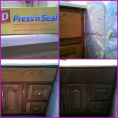 I saw the tip of using the GLAD PRESS n SEAL to cover counters and walls while you paint. I did this and I just rolled out long pieces and covered my bathroom counter, toilet, wall and floor. WORKED AWESOME! Here's my before and after of my sink cabinet. ~❀~RBonnie~❀~
