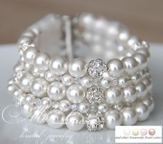 Bridal Bracelet White Pearl Bridal Bracelet by MiaLuciaBridal