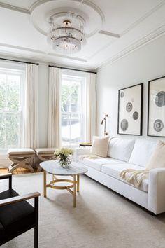 Park Slope Townhouse Den Interior design, custom furniture design & art curation by Chango & Co.