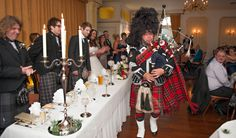 Our incredible Piper piping in the top table at a wedding! www.elitebands.co.uk Scottish Weddings are so much fun with Kilts, Ceilidh and a Piper!