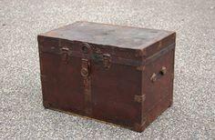cobblestonesvintage:  Metal Wrapped Wood Trunk Brass Trim, Antique Wood Storage Chest, Steamer Trunk, Foot Locker, Industrial Table Rustic Dorm