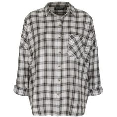 Topshop 'George' Oversized Plaid Shirt ($30) ❤ liked on Polyvore featuring tops, shirts, shirt tops, tartan plaid shirt, pattern shirts, oversized cotton shirts and plaid pattern shirt