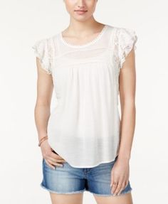American Rag Lace-Trim Flutter-Sleeve Top, Only at Macy's