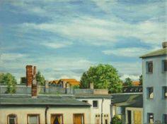 "Saatchi Art Artist Marion Stephan; Painting, ""Dächer im Sommer"" #art, #marionstephanfineart, #cityscapepainting, #housespainting, cloudpainting, #kunst"