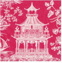 ~ with lots of fuchsia pagoda cocktail napkins