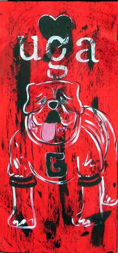 Distressed Wood Art Sign Georgia Bulldog by rachel4art on Etsy, $30.00