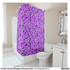 Purple Green Hexagon Honeycomb Abstract Pattern Shower Curtain In