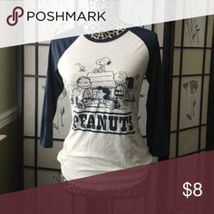 Peanuts Baseball T-Shirt!!! Size: Medium. Condition: Like New. Peanuts Tops Tees - Long Sleeve