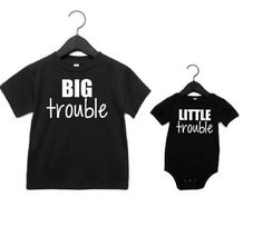 Big Trouble and Little Trouble Shirts- Sibling Shirts for Big Trouble Little Trouble Shirts- Matching Brother Shirts- New Big Brother Shirts- New Baby Brother Shirt- Trouble Sibling Shirts- Big and Little Shirts Sibling Shirts, Sister Shirts, Baby Shirts, Family Shirts, Kids Shirts, Onesies, Big Brother Little Brother, Matching Shirts, Siblings