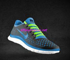 7dad0417b61e Womens Nike Free 3.0 V4 Wolf Grey University Blue Fluorescent Green Lace  Shoes Nike Free Run