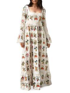 Agua By Agua Bendita Curuba Long-Sleeve Floral Maxi Dress | SaksFifthAvenue Honeymoon Style, Funky Fashion, Floral Maxi Dress, Saks Fifth Avenue, Textures Patterns, Cold Shoulder Dress, Summer Dresses, Elegant, My Style