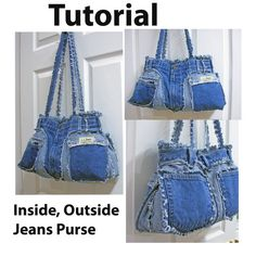 Handmade Recycled Denim Inside Outside Purse by ljeans on Etsy