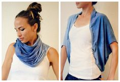 Trash To Couture: DIY Convertible Shawl/Shrug. Can be NO-SEW!