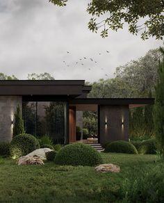 Modern House Facades, Modern Architecture House, Architecture Design, Residential Architecture, Home Building Design, Building A House, Dream House Exterior, Facade House, Exterior Design