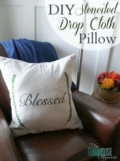 DIY Stenciled Drop Cloth Pillow Cover | TheTurquoiseHome.com