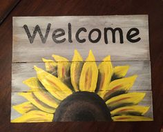 Welcome Sign on reclaimed wood sunflower Welcome by HippieHoundUSA