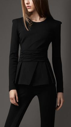 All black.... with peplum..gorgeous. Love the details of the top.