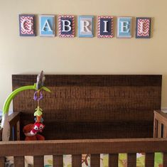 This was a custom design we did for baby Gabriel! So adorable! Boy Nursery Letters, Nursery Name, Nursery Signs, Nursery Decor, Baby Name Signs, Letter Wall, Wooden Letters, Design Show, Gabriel