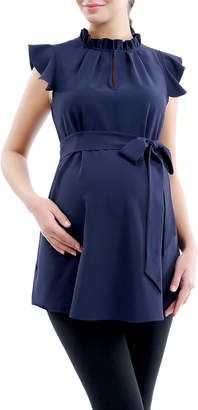 Kimi + Kai Karlena Maternity Top Woven polyester top Ruffle stand collar Flutter sleeve Keyhole at front Self-tie detail at waist Material: polyester Care: Machine wash Brand: Kimi + Kai Origin: Importado Cute Maternity Outfits, Stylish Maternity, Maternity Wear, Maternity Tops, Maternity Dresses, Maternity Fashion, Maternity Styles, Pregnancy Wardrobe, Pregnancy Outfits