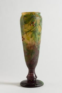 Daum Frères, Nancy, Acid Etched, wheel carved Glass Vase.