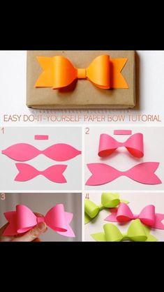 diy paper bow diy crafts craft ideas diy ideas diy crafts crafty easy diy easy craft diy bow craft bow by mavrica Easy Diy Crafts, Cute Crafts, Crafts To Do, Foam Crafts, Diy Paper, Paper Crafting, Paper Bows, Paper Ribbon, Paper Art