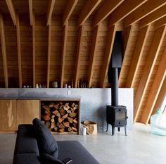 Dream winter home - timber filled & a stunning fireplace! 💭 designed by Scott & Scott