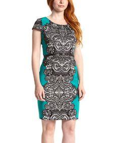 Look at this #zulilyfind! Green & Black Arabesque Belted Cap-Sleeve Dress by Shelby & Palmer #zulilyfinds
