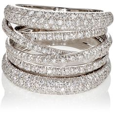 Sidney Garber Women's Scribble Ring ($8,000) ❤ liked on Polyvore featuring jewelry, rings, no color, white gold dome ring, 18k ring, 18k white gold ring, pave dome ring and white gold jewellery