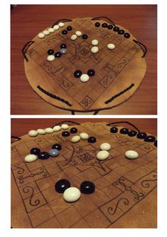 homemade Hnefatafl board - the leather bag is also the game board