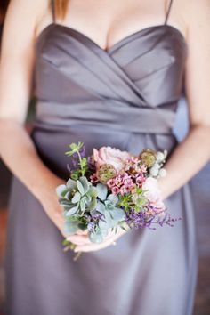 Smaller bridesmaid bouquet.  LOVE this!  and with a grey dress again!!