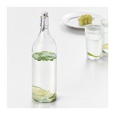 KORKEN Bottle with stopper, clear glass