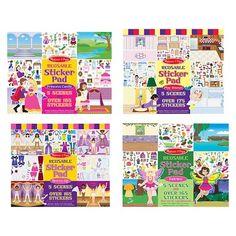 Melissa & Doug Reusable Sticker Pad Bundle - Fairy, Princess, Dress-Up, and Play House