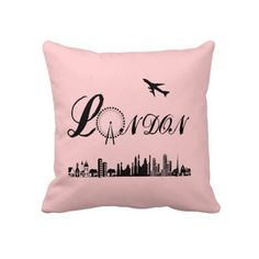 London Eye British Theme Pink Throw Pillow, Cushion a cool look for any room