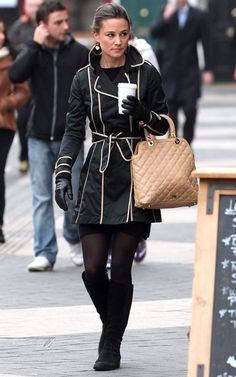 Pippa! She's always wearing something cute. Love the coat and the boots. The boots go with everything.