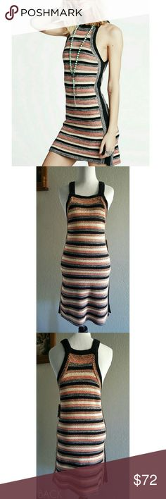 HP🎉 Free People Retro Ruby Knit Dress HP 8/29 🎉 Size XS! NEW Free People Retro Ruby Knit Dress in black combo! Just throw it on and go! This adorable Free People dress offers an instant style boost without any effort!PRICE FIRM!   Cotton Machine washable High neckline Pullover style Sleeveless Allover stripes and knit finish Sheath silhouette Slit at sides Hits at knee Free People Dresses Mini